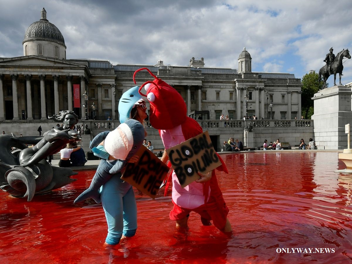 Vegan activists turn Trafalgar Square fountains blood red.